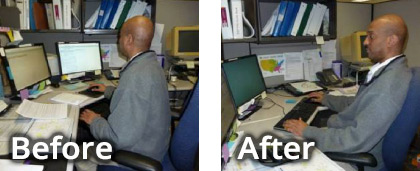 Before and after ergonomic assessment